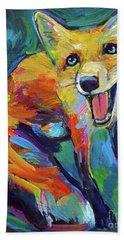 Happiest Fox Bath Towel by Robert Phelps