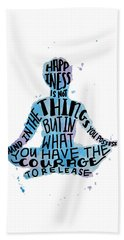 Happiness Meditation Quote Hand Towel