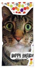 Happy Birthday Cat- Art By Linda Woods Hand Towel