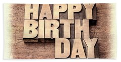 Happy Birthday Greetings In Wood Type Hand Towel