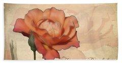 Happy Birthday Peach Rose Card Bath Towel