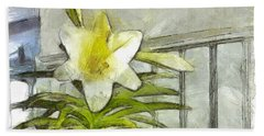 Hand Towel featuring the photograph Happy Easter Lily by Claire Bull