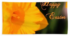 Bath Towel featuring the photograph Happy Easter Yellow Daffodil Spring Flowers by Shelley Neff
