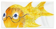 Happy Fish With Glasses Hand Towel