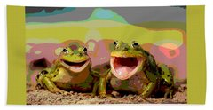 Happy Frog Hand Towel by Charles Shoup