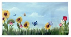 Bath Towel featuring the painting Happy Garden by Carol Sweetwood