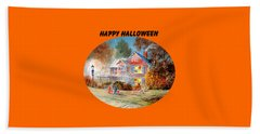 Hand Towel featuring the painting Happy Halloween by Bill Holkham
