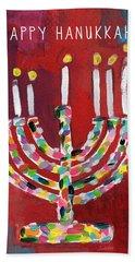 Happy Hanukkah Colorful Menorah Card- Art By Linda Woods Hand Towel