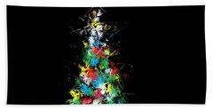 Happy Holidays - Abstract Tree - Horizontal Bath Towel