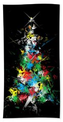 Happy Holidays - Abstract Tree - Vertical Bath Towel