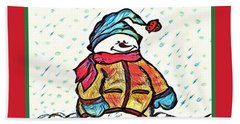 Happy Holidays Snowman Hand Towel by MaryLee Parker