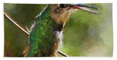 Happy Hummingbird Bath Towel by Tina  LeCour