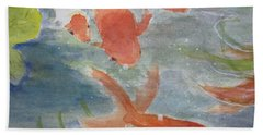 Happy Koi Bath Towel by Elvira Ingram