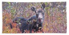 Happy Moose Hand Towel by Elizabeth Dow