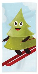 Happy Pine Tree On Ski Hand Towel