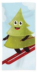 Happy Pine Tree On Ski Bath Towel