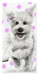 Hand Towel featuring the drawing Happy Pink Polka Dots Doggy  by Heidi Kriel