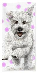 Bath Towel featuring the drawing Happy Pink Polka Dots Doggy  by Heidi Kriel