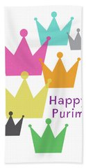 Hand Towel featuring the mixed media Happy Purim Crowns - Art By Linda Woods by Linda Woods