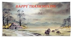 Hand Towel featuring the painting Happy Thanksgiving  by Bill Holkham