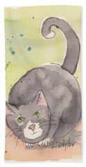 Hand Towel featuring the painting Happy Tuxedo by Terry Taylor