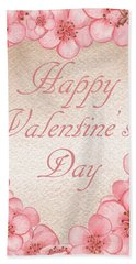 Happy Valentine Pink Heart Hand Towel