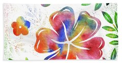 Happy Watercolor Flowers Bath Towel