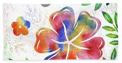 Happy Watercolor Flowers Hand Towel
