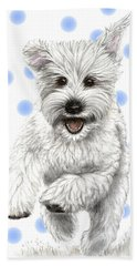 Hand Towel featuring the drawing Happy Blue Polka Dots Doggy by Heidi Kriel