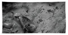 Harbor Seal Pup Monochrome  Hand Towel