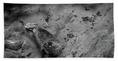 Harbor Seal Pup Monochrome  Bath Towel