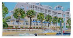 Hand Towel featuring the painting Harborside Marina by Shelia Kempf
