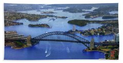 Bath Towel featuring the photograph Harbour Bridge From Helicopter Flight by Miroslava Jurcik