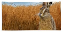 Hare In Grasslands Hand Towel