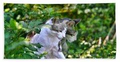 Harlequin Cat Twins Bath Towel
