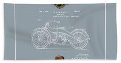 Bath Towel featuring the digital art Harley-davidson 1924 Vintage Patent Blueprint  by Serge Averbukh