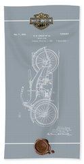 Bath Towel featuring the digital art Harley-davidson 1924 Vintage Patent Blueprint With 3d Badge by Serge Averbukh