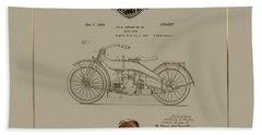 Bath Towel featuring the digital art Harley-davidson 1924 Vintage Patent Document  by Serge Averbukh