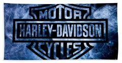 Harley Davidson Logo Blue Bath Towel by Randy Steele