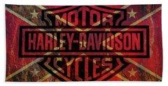 Harley Davidson Logo Confederate Flag Bath Towel