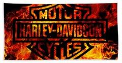 Harley Davidson Logo Flames Hand Towel