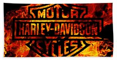 Harley Davidson Logo Flames Bath Towel by Randy Steele