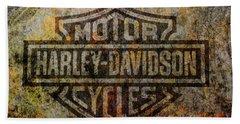 Harley Davidson Logo Grunge Metal Hand Towel by Randy Steele