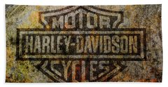 Harley Davidson Logo Grunge Metal Bath Towel by Randy Steele