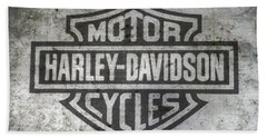 Harley Davidson Logo On Metal Bath Towel by Randy Steele
