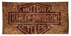 Harley Davidson Logo Red Brick Wall Hand Towel