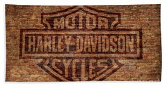 Harley Davidson Logo Red Brick Wall Bath Towel by Randy Steele