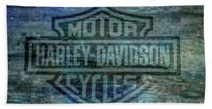 Harley Davidson Logo Weathered Wood Bath Towel by Randy Steele