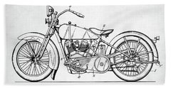 Bath Towel featuring the digital art Harley Davidson Patent by Taylan Apukovska