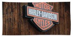 Harley Davidson Sign In West Jordan Utah Photograph Bath Towel